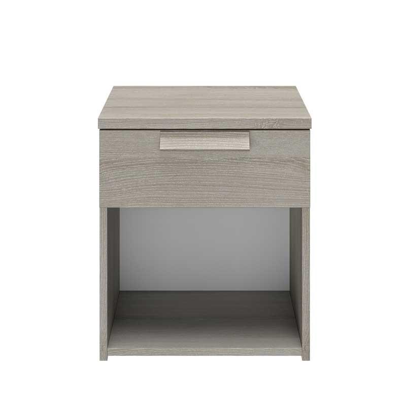 Table de chevet 1 tiroir 1 niche Chêne Gris clair - ILORA