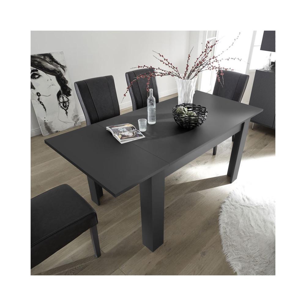Table de repas rectangulaire à allonge Gris - ROME