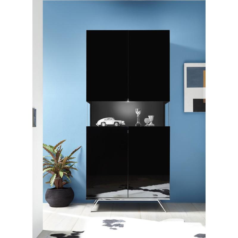 Vaisselier 2 portes Laqué Noir à LEDs - TARENTE n°1