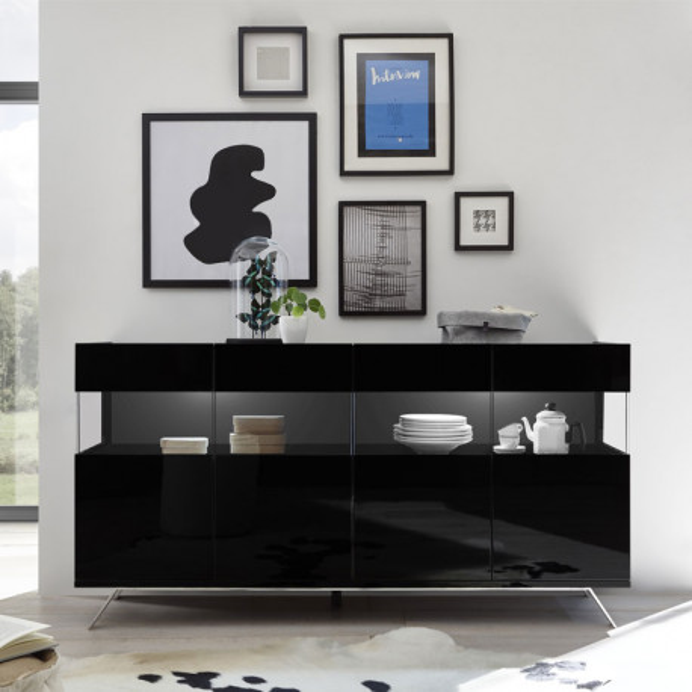 Buffet 4 portes Laqué Noir à LEDs - TARENTE n°1