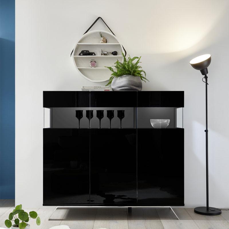 Buffet 3 portes Laqué Noir à LEDs - TARENTE n°1