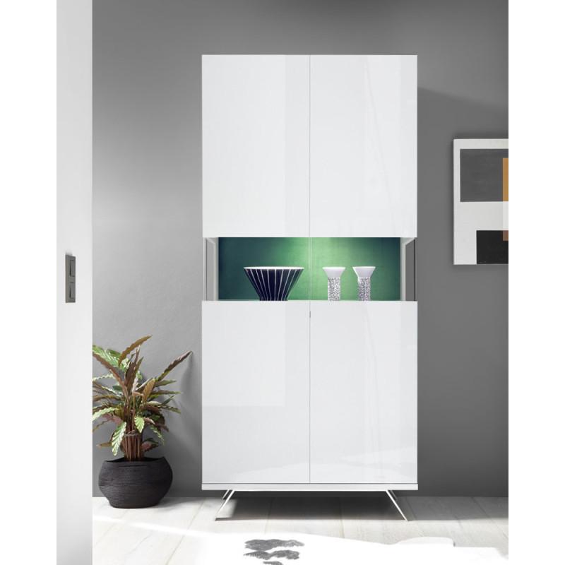 Vaisselier 2 portes Laqué Blanc à LEDs - TARENTE n°2