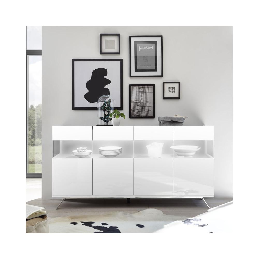Buffet 4 portes Laqué Blanc à LEDs - TARENTE n°1