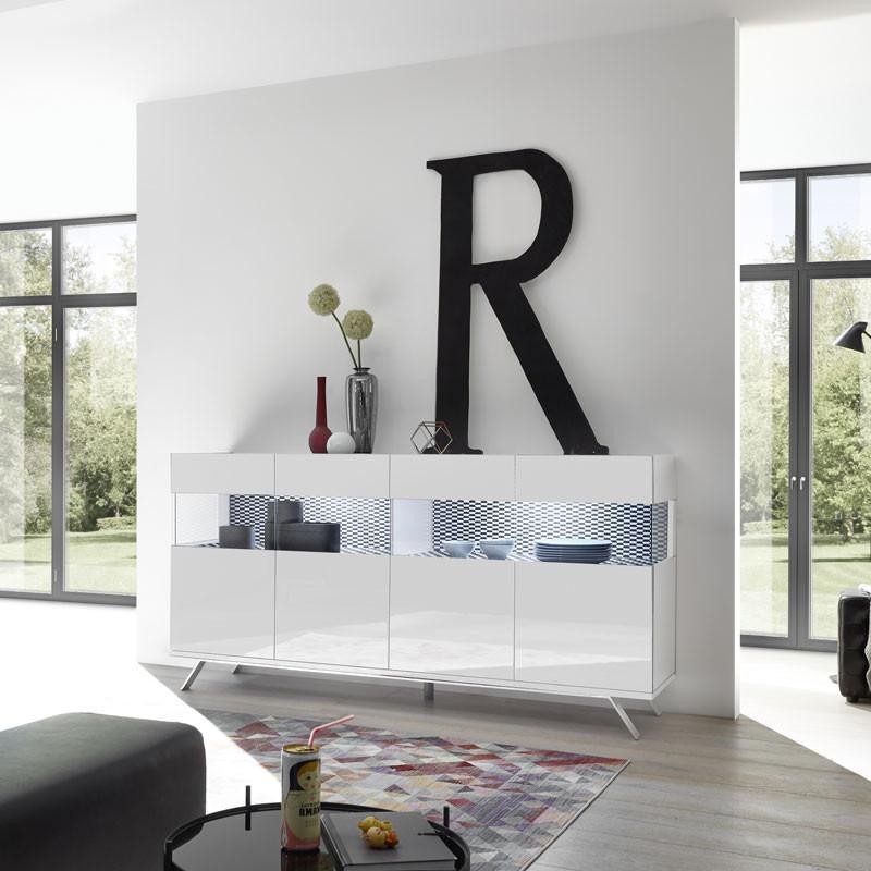 Buffet 4 portes Laqué Blanc à LEDs - TARENTE n°3