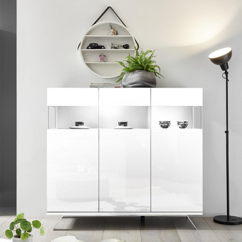 Buffet 3 portes Laqué Blanc à LEDs - TARENTE n°1