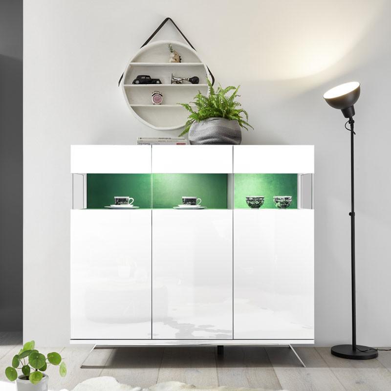 Buffet 3 portes Laqué Blanc à LEDs - TARENTE n°2