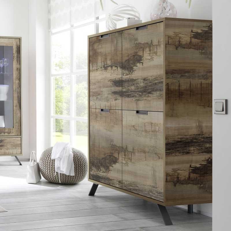 Vaisselier Armoire de salon 4 portes Planches bois - PALERME