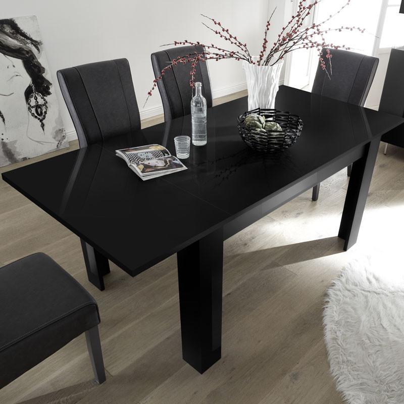Table de repas à allonge Laquée Noire - TARENTE