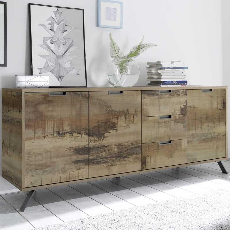 Buffet 3 portes 3 tiroirs Planches bois - PALERME
