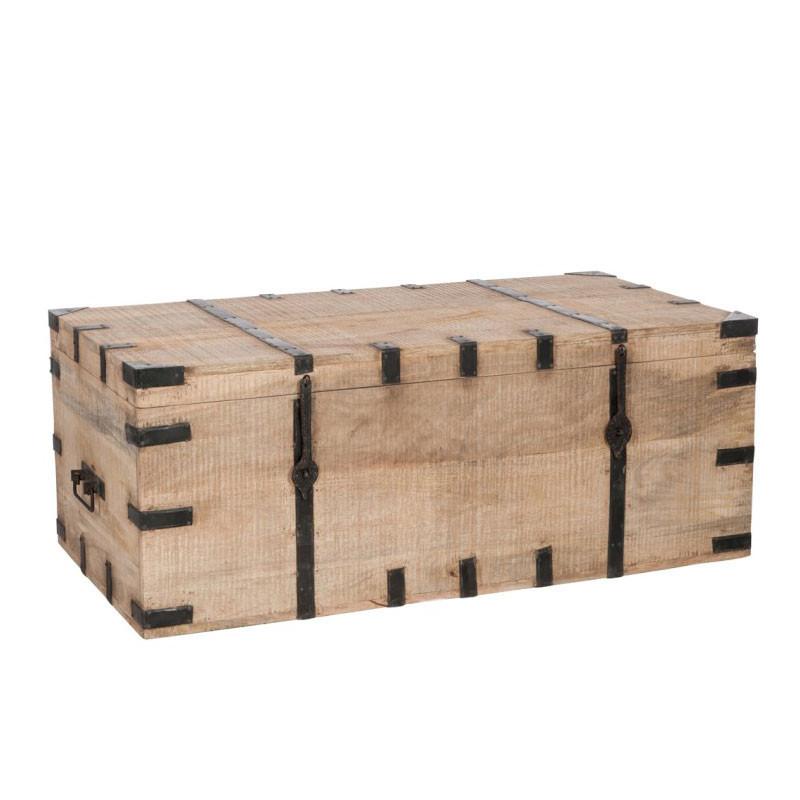 Coffre de rangement Bois naturel/Fer forgé - DRAVE