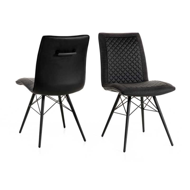 Duo de Chaises Simili cuir Noir/Gris - UCCLE