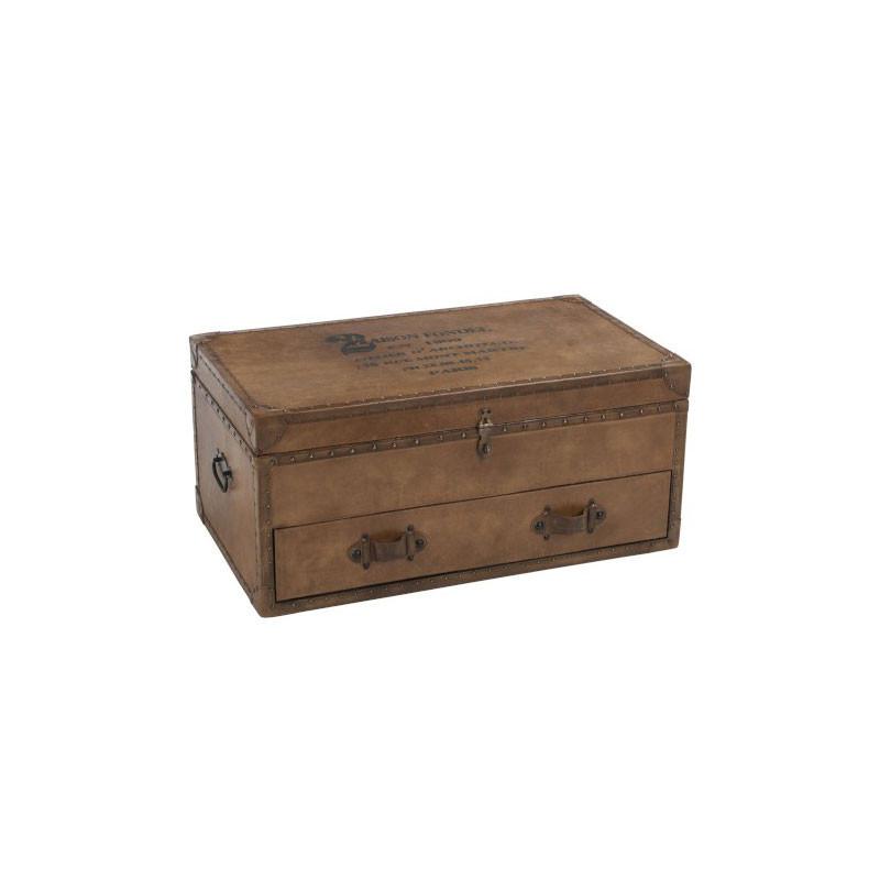 Coffre de rangement 1 tiroir Cuir/Bois - CHIGU