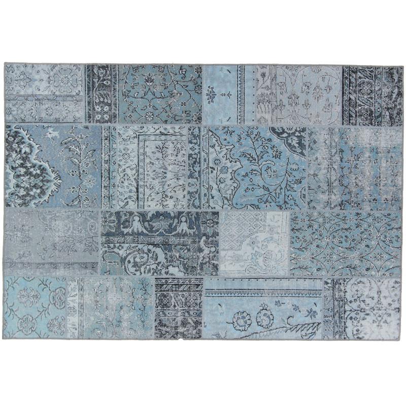 Tapis Patchwork Tissu bleu clair 160*230 - BENADIR