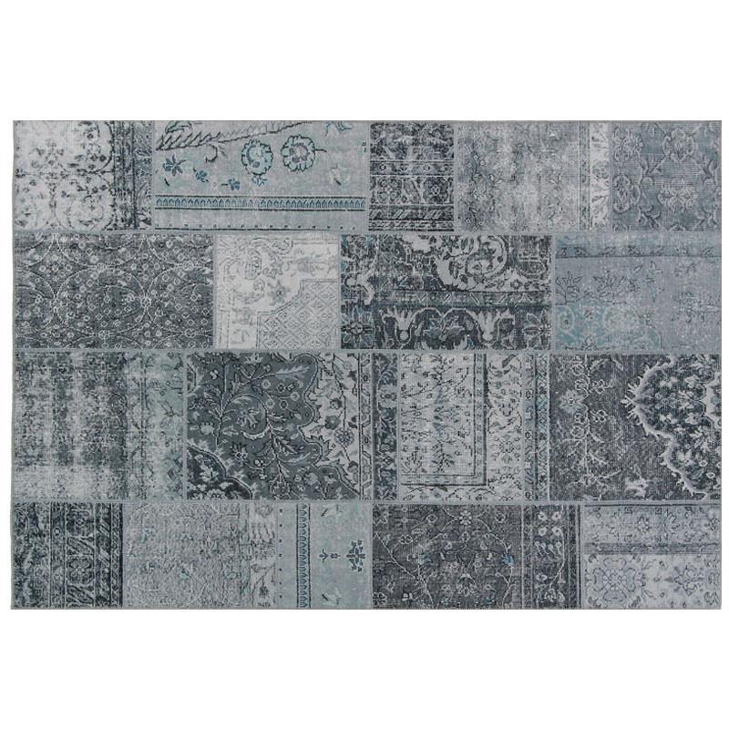 Tapis Patchwork Tissu gris 160*230 - BENADIR