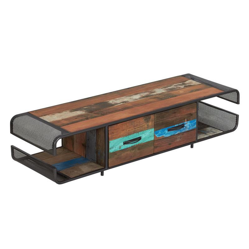 Meuble TV en bois 2 tiroirs - SEATTLE N°2