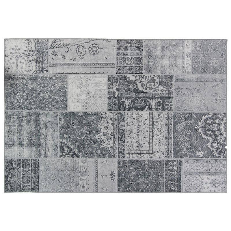 Tapis Patchwork Tissu gris clair 190*290 - BENADIR