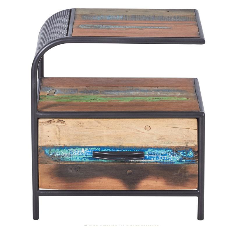 Table de chevet gauche 1 tiroir en Fer/Bois- SEATTLE
