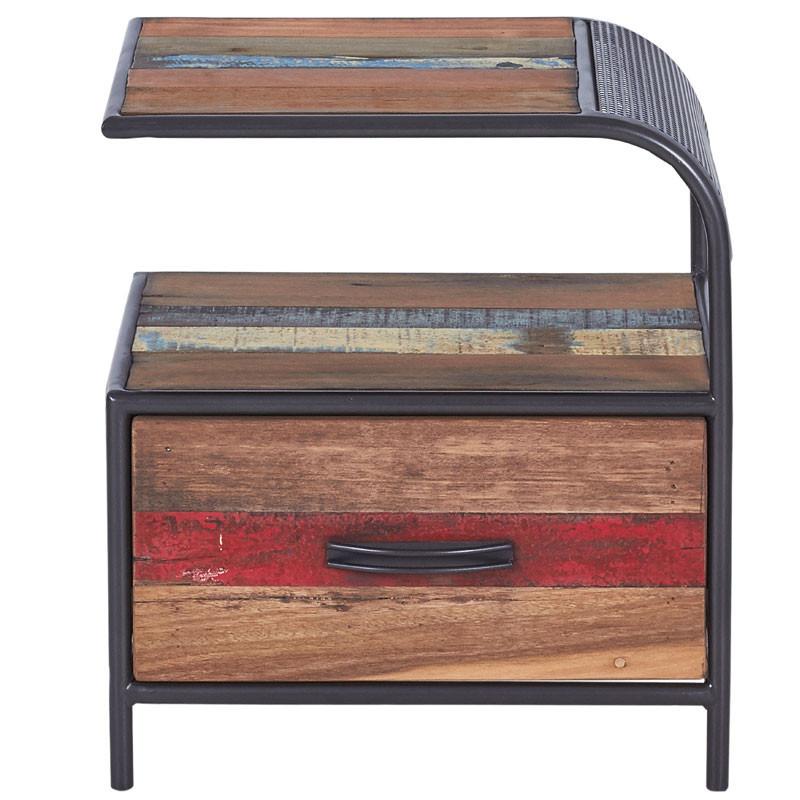 Table de chevet droite 1 tiroir en Fer/Bois- SEATTLE