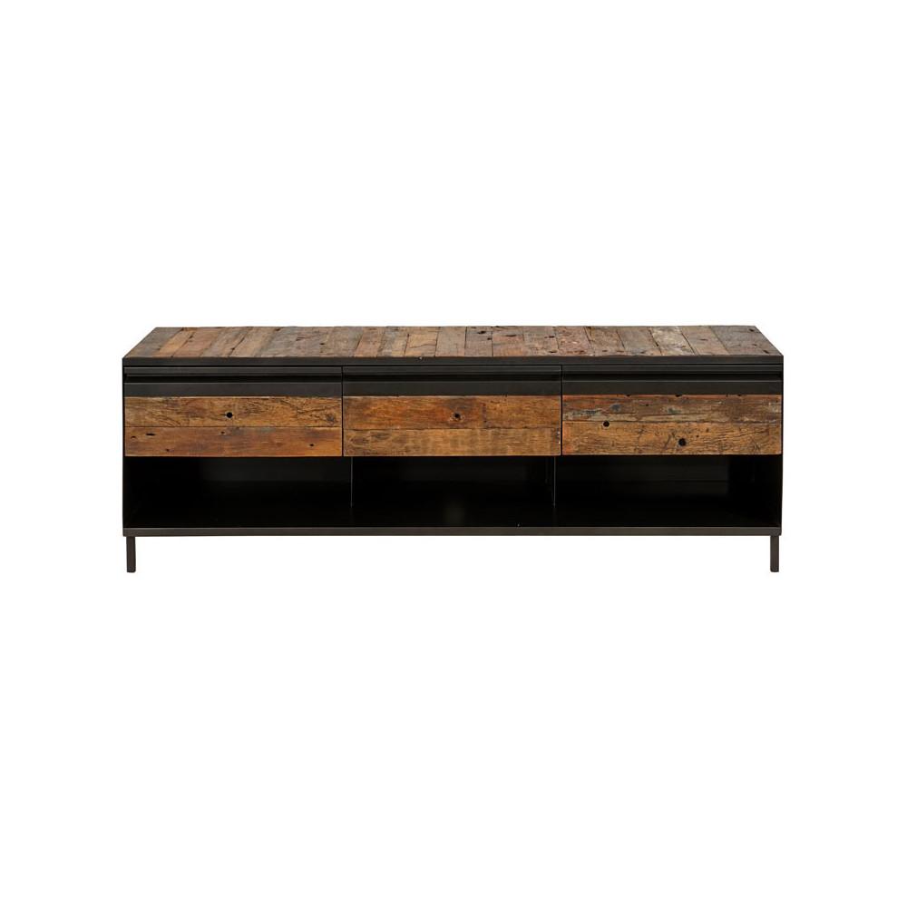 Meuble TV Fer/Bois 3 tiroirs 3 niches - HOUSTON