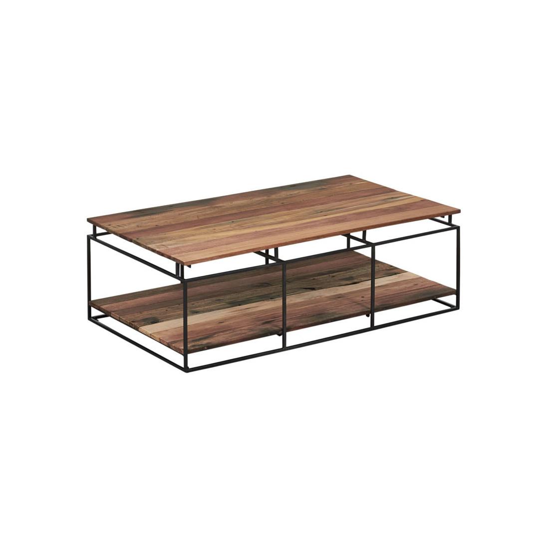 Table basse rectangulaire fer bois double plateau phoenix Table basse bois rectangulaire