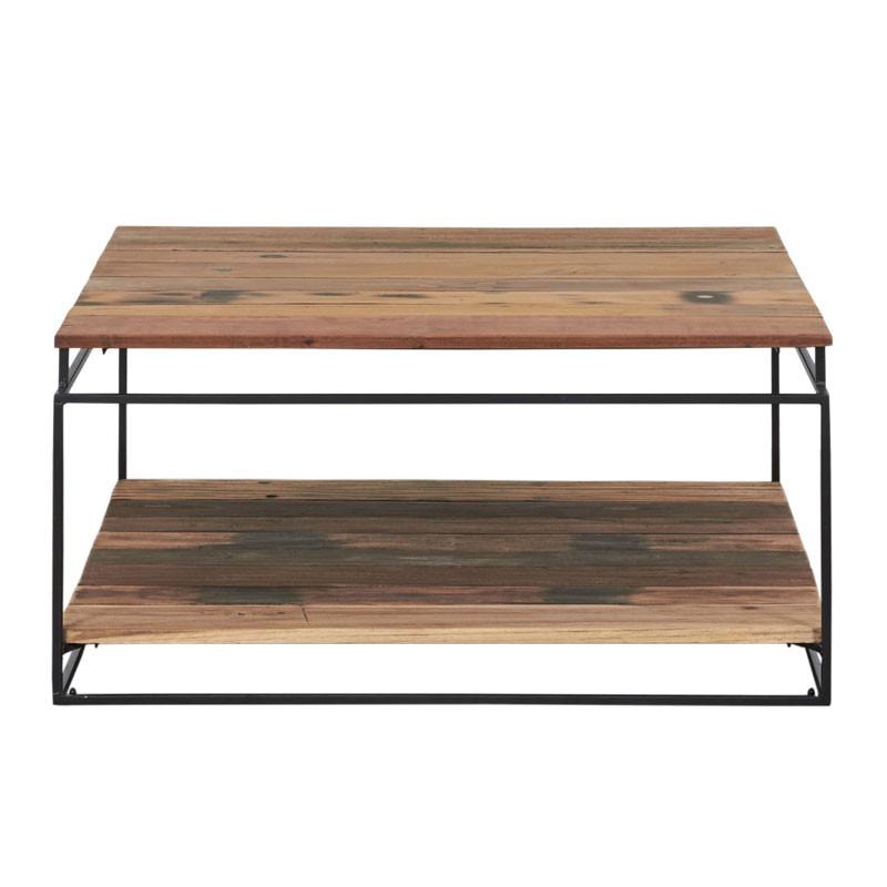 Table basse carrée Fer/Bois 2 plateaux - PHOENIX