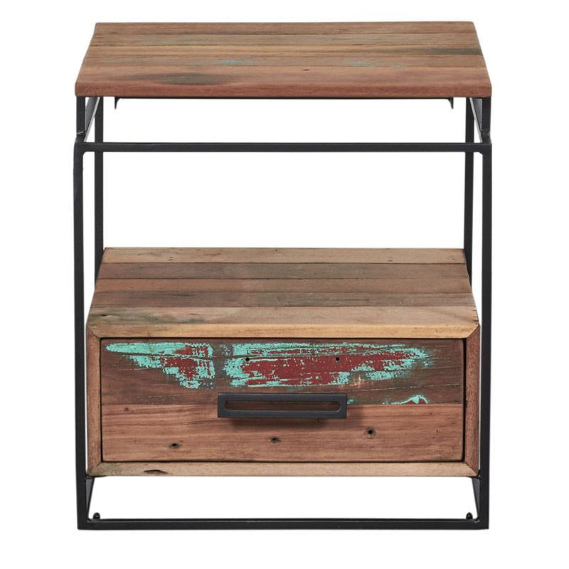 Table de chevet Fer/Bois 1 tiroir - PHOENIX