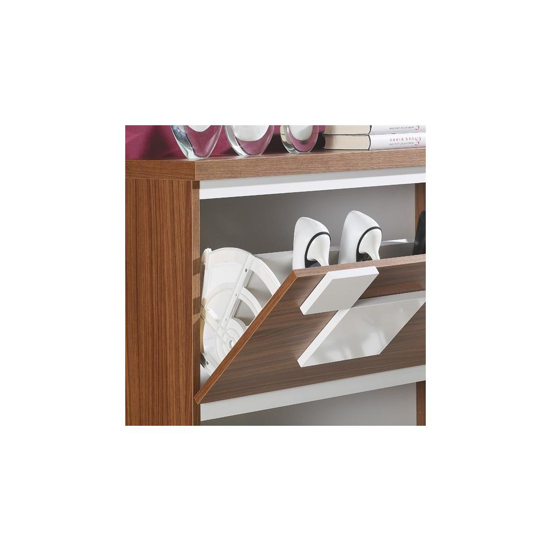 meuble chaussures blanc noyer squadra univers petits meubles. Black Bedroom Furniture Sets. Home Design Ideas