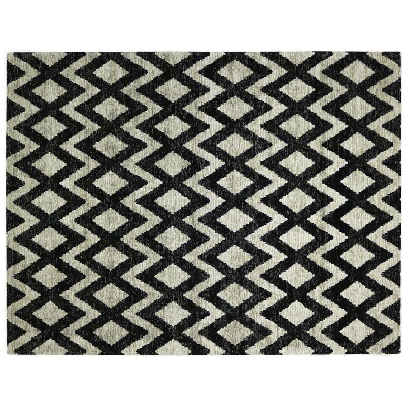 Tapis géométrique Tissu beige/noir 170*230 N°3 - ALGARVIA
