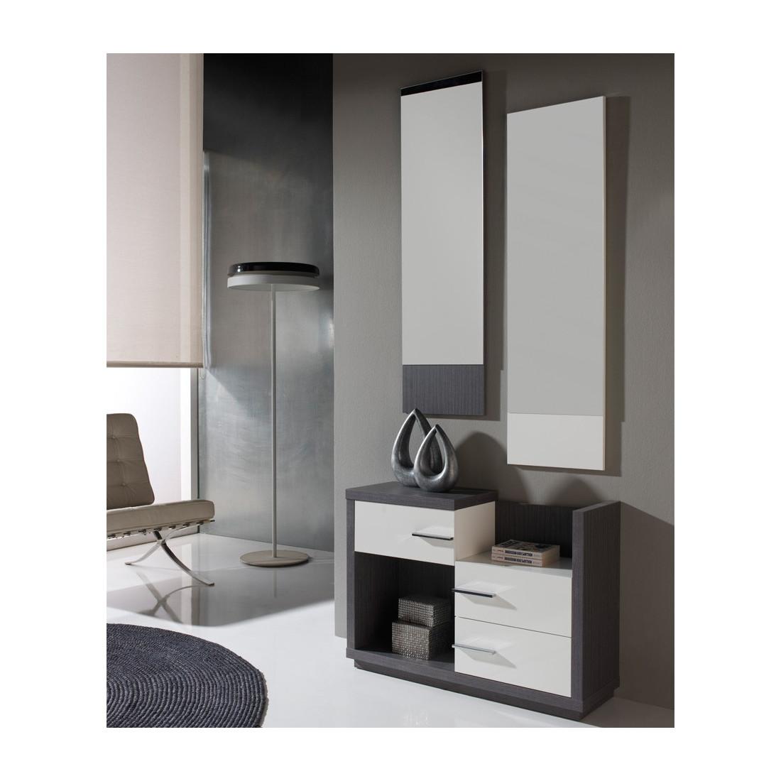 Meuble d 39 entr e cendre miroirs colby univers petits meubles - Meuble d entree miroir ...