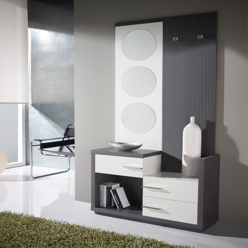 meuble d 39 entr e blanc cendre miroirs luna univers. Black Bedroom Furniture Sets. Home Design Ideas