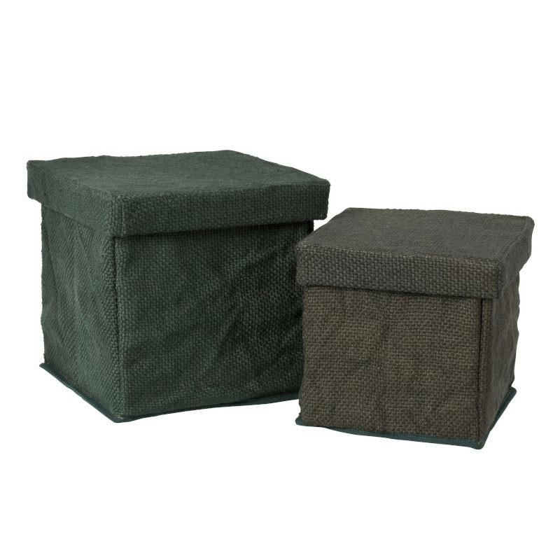 Duo de Boîtes carrés Tissu vert - POLYPAY