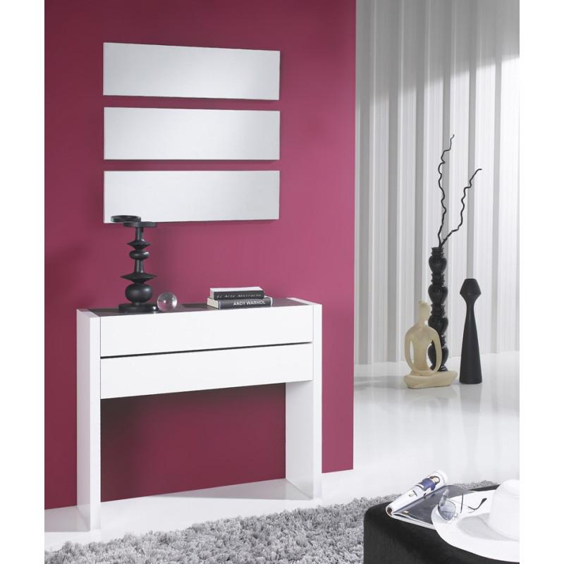 Meuble d'entrée Blanc Laque + miroirs - NOSILA