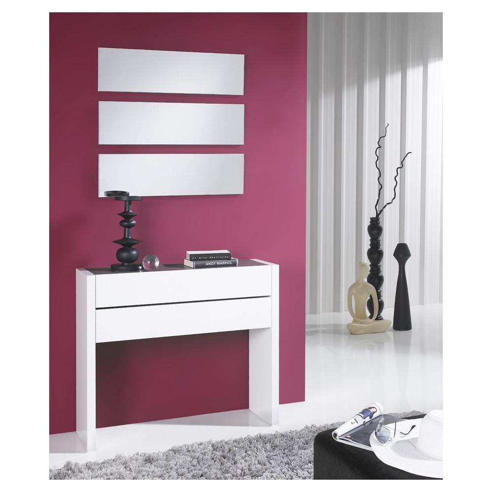 Meuble d'entrée Blanc/Cendre + miroirs - NOSILA