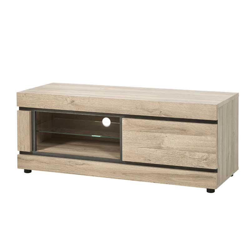 Meuble TV 1 tiroir 2 niches Chêne naturel - COURTRAI