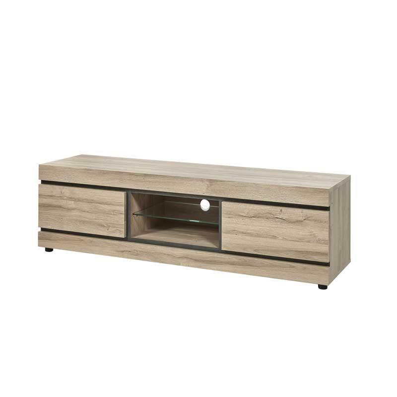 Meuble TV 2 tiroirs 2 niches Chêne naturel - COURTRAI