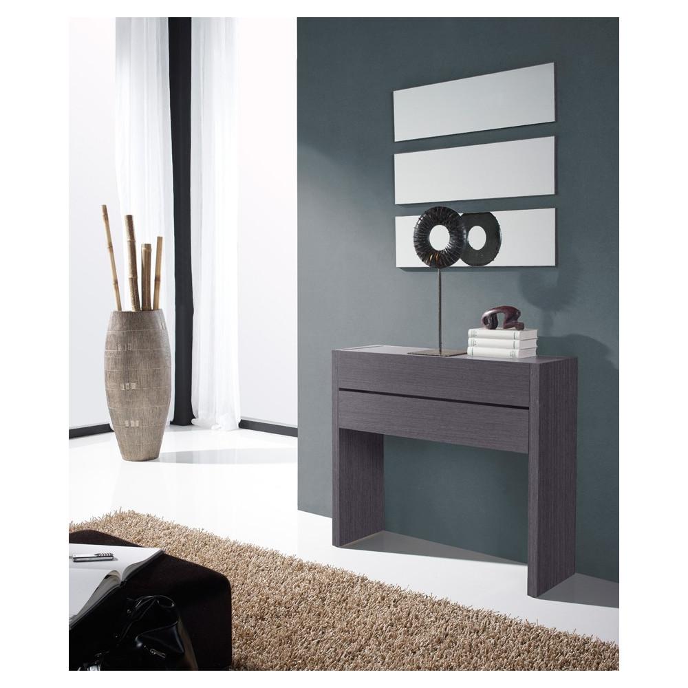 Meuble d'entrée Cendre + miroirs - NOSILA