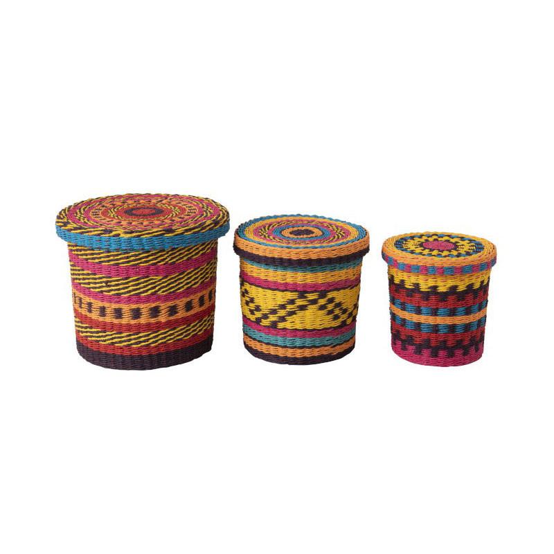 Trio de Paniers Fibres multicolore N°1 - TOSAKIN