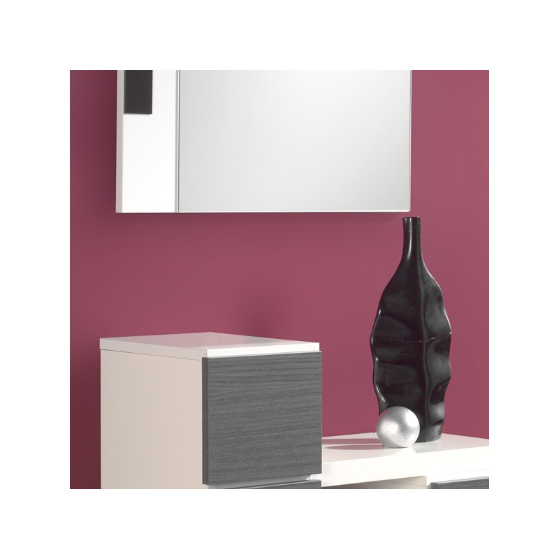 meuble d 39 entr e cendre blanc miroir fernuda univers petits meubles. Black Bedroom Furniture Sets. Home Design Ideas
