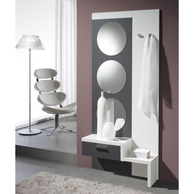 Meuble d'entrée Cendre/Blanc + miroir - GOMELLE