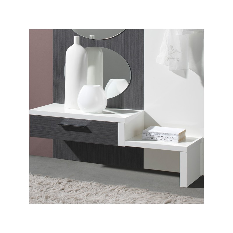 meuble d 39 entr e blanc cendre gomelle univers petits meubles. Black Bedroom Furniture Sets. Home Design Ideas