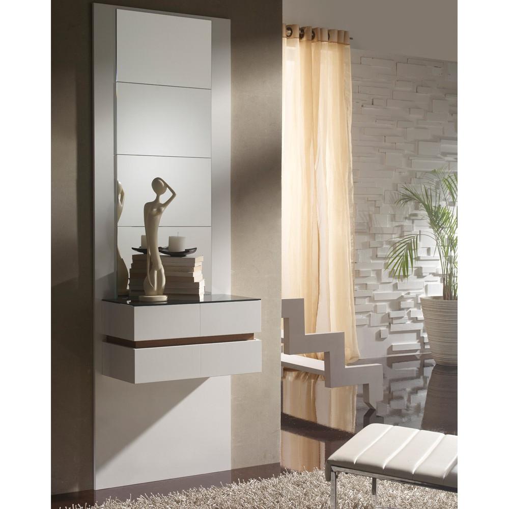 Meuble d'entrée Blanc/Noyer + miroirs - LOUMI