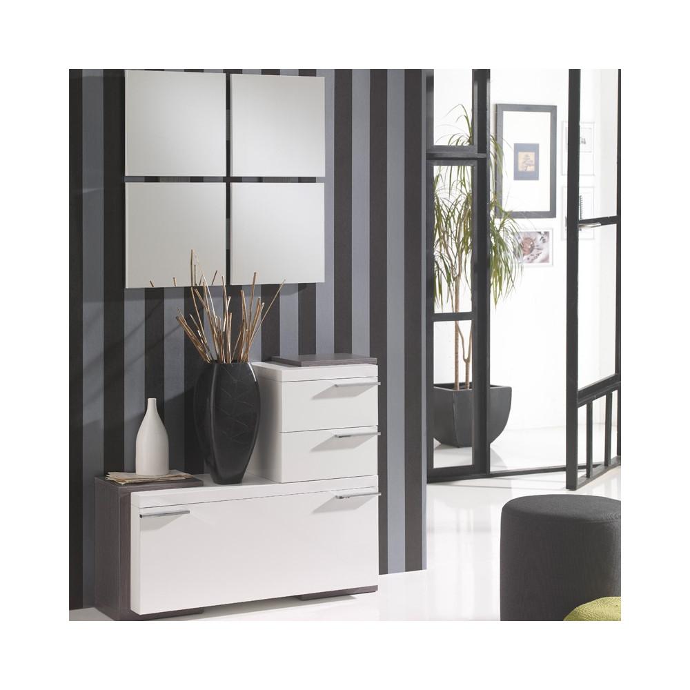 Meuble d'entrée Blanc/Cendre + miroirs - ROUSTINE