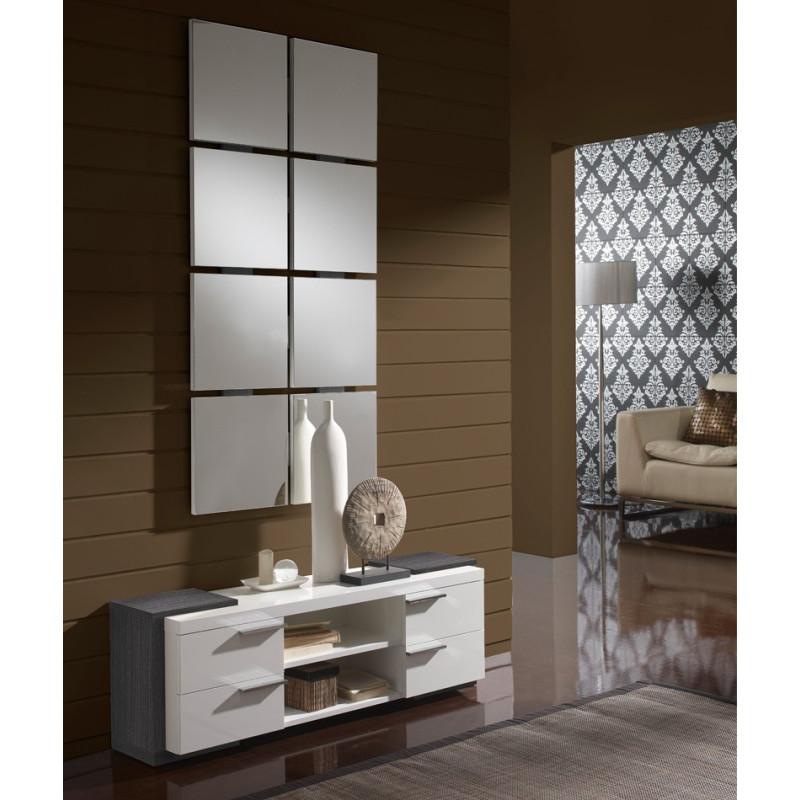 Meuble d'entrée Blanc/Cendre + miroir - NAVE