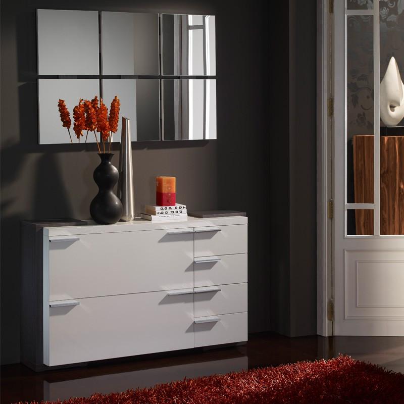 Meuble d'entrée Blanc/Cendre + miroirs - KIMISTIL
