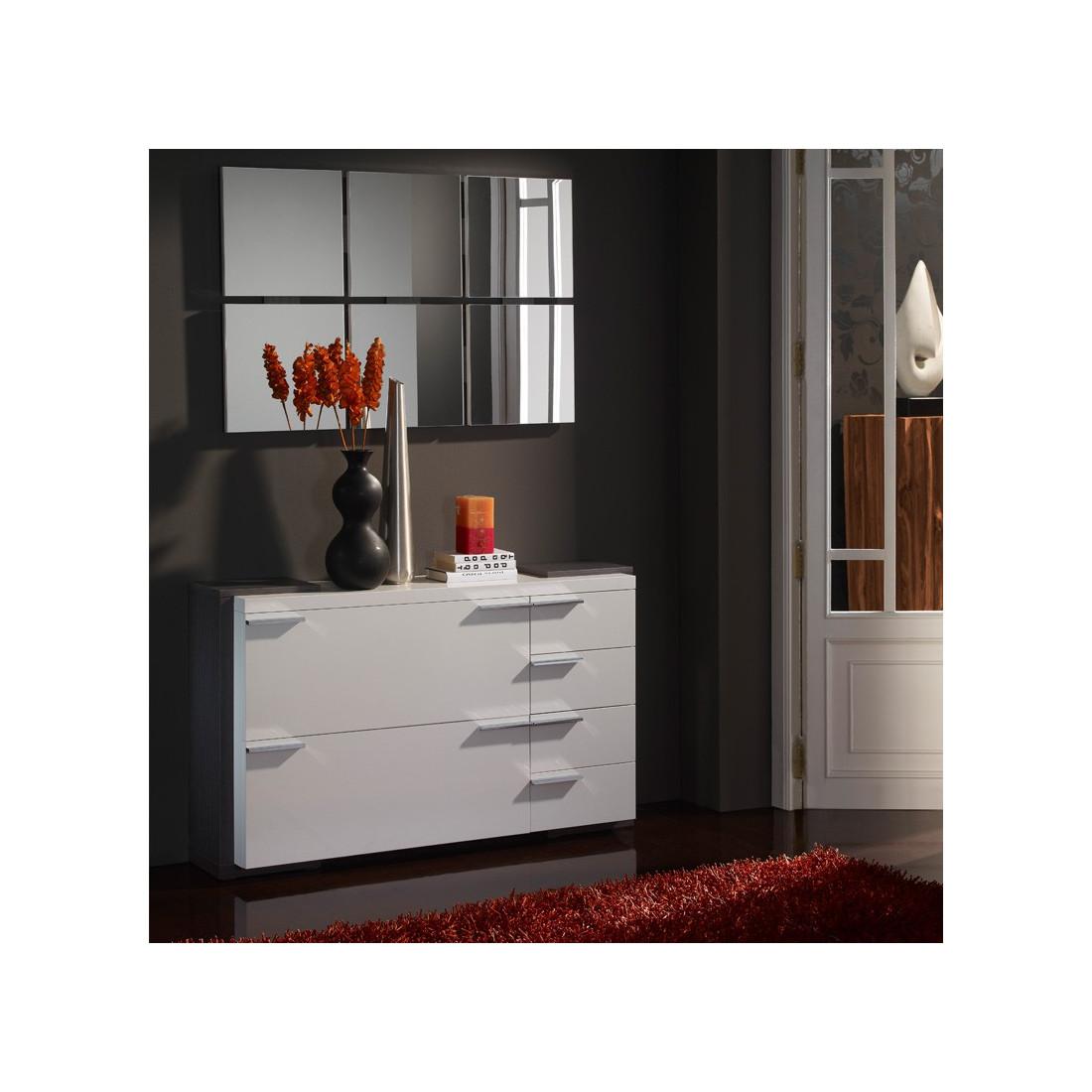 meuble d 39 entr e et chaussures blanc cendre miroirs kimistil univers petits meubles. Black Bedroom Furniture Sets. Home Design Ideas