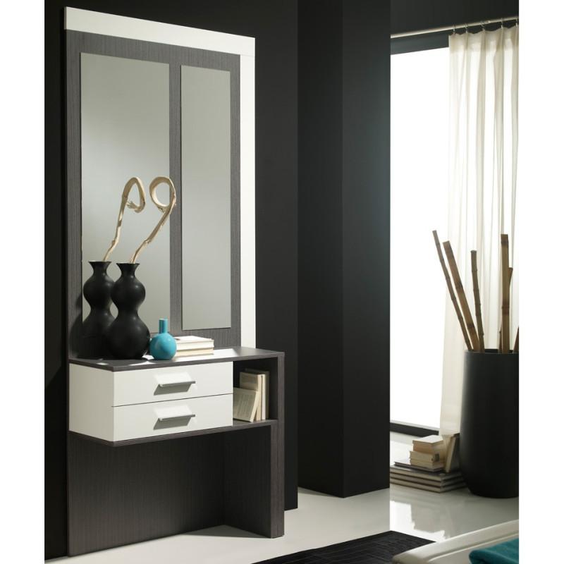 Meuble d'entrée Blanc/Cendre + miroirs - MOKENE