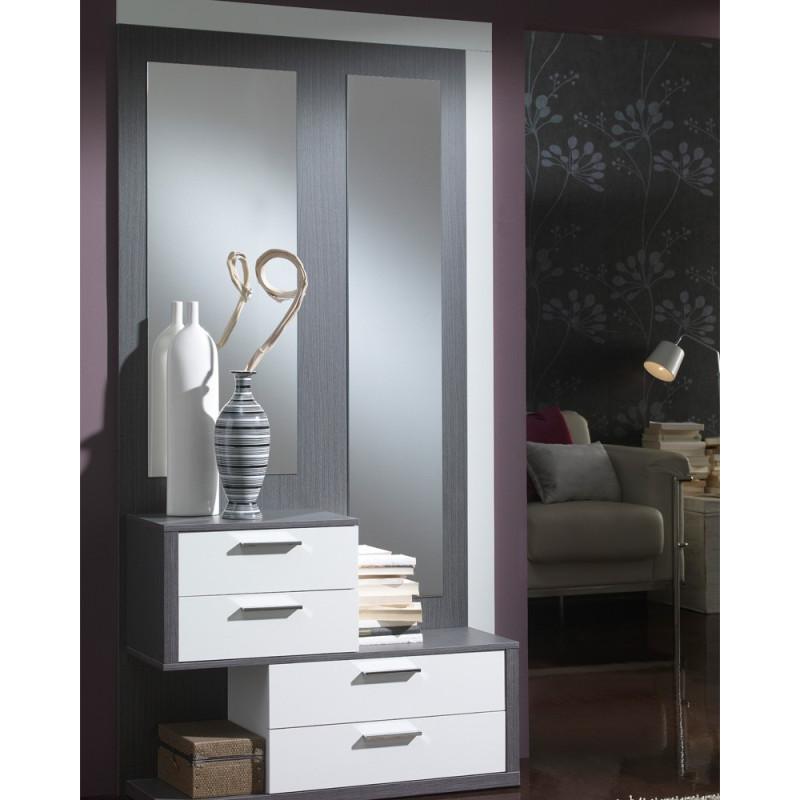 Meuble d'entrée Blanc/Cendre + miroirs - RACHOU