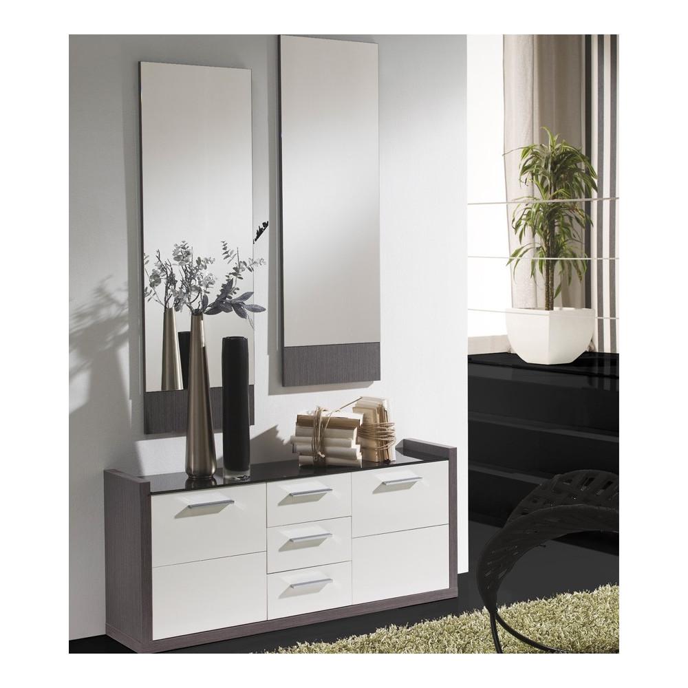 Meuble d'entrée Blanc/Cendre + miroirs - MILLESIME