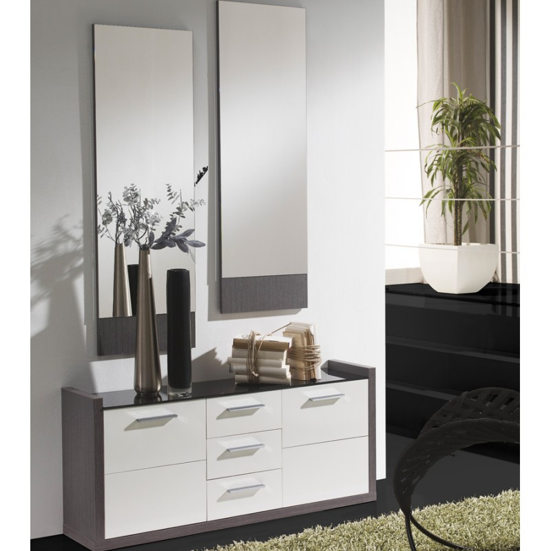 meuble d 39 entr e blanc cendre miroirs millesime petits. Black Bedroom Furniture Sets. Home Design Ideas