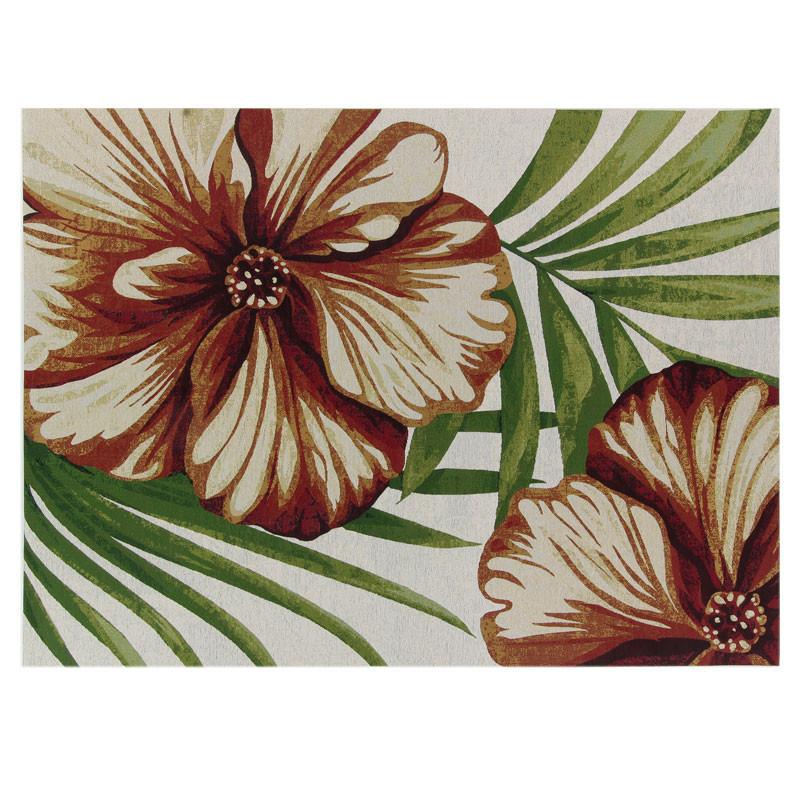 Tapis d'extérieur Tissu fleurs 200*290 - BREITOVO